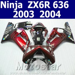 $enCountryForm.capitalKeyWord Canada - Hot sale fairing body kits for kawasaki Ninja ZX-6R 03 04 black red fairings set kit ZX6R 636 2003 2004 SD41