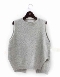 Wholesale-2015 New Cashmere Knit Vest Women Loose Plus Size O-Neck Pullover Sweater Vest Female Waistcoat Jacket on Sale