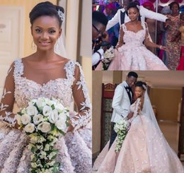 40eeb3425a04 african princess wedding gown 2019 - 2018 Vintage Arabic Dubai African Flora  Flowers Wedding Dress Princess