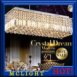 Fitting Rooms Canada - Long Size Rectangle Crystal Pendant Light Fitting Crystal Dining Light Suspension Lamp for Dining Room, Bedroom Meeting Room