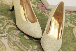 $enCountryForm.capitalKeyWord Canada - Glitter silver gold bride wedding shoe heels round head thick with shallow mouth low documentary shoes with toast female shoes @55