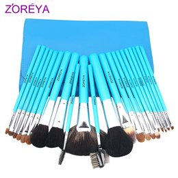 Barato Eyeshadow Lipgloss Blush-Lake Blue Professional Make Up Brushes Zoreya 22 Pcs Studio Kolinsky Hair Powder Blush Fundação Eyeshadow Lipgloss Ferramentas completas