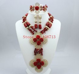 $enCountryForm.capitalKeyWord Canada - Fashion nigerian wedding african Coral beads gold plated Women jewelry set Coral necklace + bracelet + earrings Free ship GD101-4