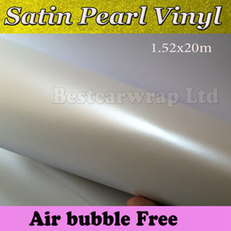 Chinese  White pearl Satin Matte Vinyl Wrap Film Pearl Wrapping Car Wrap Film With Air Bubble Free Car Stickers Free shipping Size 1.52x20m Roll manufacturers