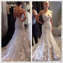 Discount Bohemian Open Back Wedding Dress 2018 Luxury Mermaid Country Dresses Spaghetti Strap Sexy