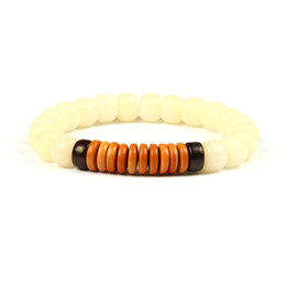 Chinese  New Religious Jewelry Wholesale 10pcs lot Natural White Bodhi Seed Beads With Coconut Shell Olive Nut Tibetan Buddhism Mala Bracelet manufacturers