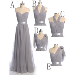 Barato Estilos De Vestido Conversível-Grey Convertible Bridesmaid Dresses 2018 Sexy Mixed Styles Lace Chiffon Vestidos Para Maid of Honor Custom Made Evening Gowns Long Prom Dress
