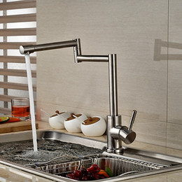 Elegant Wholesale And Retail Brushed Nickel Long Spout Kitchen Faucet Extent Spout  Vessel Sink Mixer Tap Single Handle Hole Deck Mounted