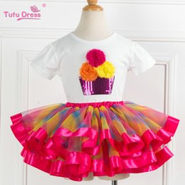 Traje De Baile De Dos Piezas Baratos-Al por mayor-Dos piezas KId Girl Set Tutu Summer Flower Cotton T-shirt + Tutu Falda Conjuntos Niños Trajes Dance Party Prom Clothing
