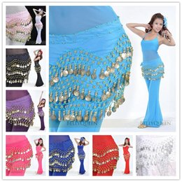 Ceintures De Danse Du Ventre Orange Pas Cher-60pcs Egypte Belly Dancing Hip Skirt Echarpe Wrap Belt Costume Belly Dance Waist Chaîne décoration Foulard Tablier 3Rows 128 Coins DHL