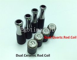 Discount ego dry herbal vaporizer - HOT!!! Skillet Atomier Ego Dual Quartz Rod Coils Double Ceramic Rod Coils metal drip tip Herbal vapor wax Dry Herb atomi