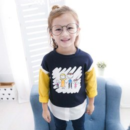 Barato Algodão Azul Lindo-Everweekend Girls Cartoon Print Tees Sweet Baby Pink e Blue Color Cotton Clothes Lovely Kids Leisure Style Outono Tops