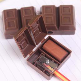 $enCountryForm.capitalKeyWord UK - Lovely Creative Chocolate Office school Supplies Plastic Pencil Sharpener With Eraser For Kids School Supplies Korean Student Stationery