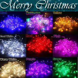 $enCountryForm.capitalKeyWord NZ - 100pcs Christmas LED String Light 9 colors 10M 100LED Xmas Led Christmas Wedding Party Decoration Lights 110V 220V