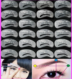 Discount stencil eyebrows kit - 24pcs Set Styles Grooming Brow Painted Model Stencil Kit Shaping DIY Beauty Eyebrow Template Stencil Make Up Eyebrow Sty