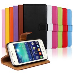 case for samsung g313 NZ - Wholesale Luxury Genuine Leather Wallet Cover Case For Samsung Galaxy Ace 4 G313 with Stand Style and Card Holder Mobile Phone Case Free