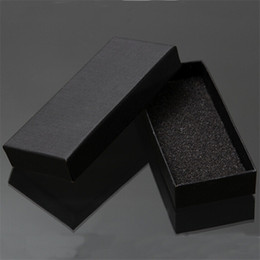 Discount cardboard pads Wholesale-Practical Matte Black Gift Box Jewelry Key Buckle Packaging Small Cardboard Jewelry Boxes With Foam Sponge Pad