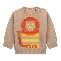 Blusa Para Niños Baratos-Everweekend Baby Boys Girls Lion Suéter de punto Tops Candy Marrón Gris Color Otoño Primavera Toddler Baby Fashion Tops Blusa