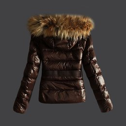 Real Fur Short Hooded Coat Canada - Short Women's Winter Down Coats Brown Ladies Slim Brand Jackets Warm Parka Real Raccoon Fur Hooded woman Jacket Fashion Designer Girls Coat
