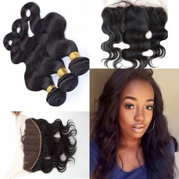 Pure Peruvian Body Wave Hair Canada - Peruvian Lace Frontal Closure With Bundles 13x4 Lace Frontal With Bundles Body Wave Human Hair 3 Bundles With Frontal Closure G-EASY