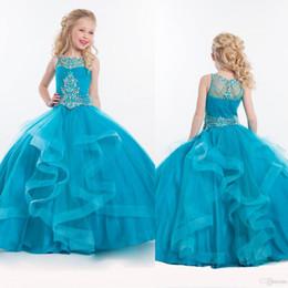 organza crystals train wedding dress 2019 - 2018 Rachel Allan Spring Flower Girls Dresses First Communion Dress Sheer Jewel Ball Gown Crystal Ruffle Pageant Gowns F