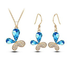 $enCountryForm.capitalKeyWord Canada - Colors Butterfly Earrings Necklace Set Austrian Crystal Full Rhinestone Jewelry Sets For Women Best Gift Jewelry 8008