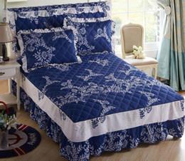 pink orange bedding sets 2019 - Wholesale-Boutique bedding set Autumn and winter keep warm 100% cotton Bed Skirt Multicolor 4pcs set Pillowcase bedsprea