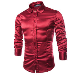 83edb33a258 Wholesale-2016 High-grade Emulation Silk Long Sleeve Shirts Mens Casual  Shirt Shiny Satin Thin Men Wedding Dress Shirts Soft Leisure Men
