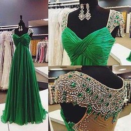 Barato Vestidos Esmeralda Verde Pageant-Emerald Green Chiffon Crystal Evening Prom Vestidos Cap Sleeves Sheer Back Floor Length Formal Ocasião Wear Party Pageant Gowns Real Picture