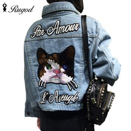 Vestes Longues Longues En Jean Pas Cher-Vente en gros-Femmes Automne Vintage Cartoon Chat Broderie Denim Veste Revers à Manches Longues Simple-breasted Mode Basic Manteau veste en jean
