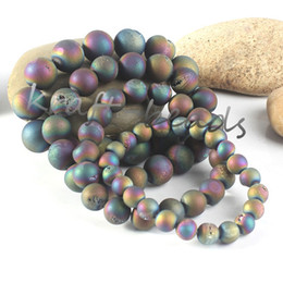 geode jewelry wholesale Canada - Wholesale 5Pcs Charms Nartural Titanium Quartz Crystal Agate Geode Stone Colorful Round Shape Beads Stone Bracelets Jewelry