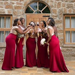 Barato Baratos Vestidos De Baile Prom-Cheap Red Bridesmaid Dresses Shiny Top Sequins Scoop Neck 2018 vestidos Cap Sleeves Mermaid Prom Party Vestidos para casamento