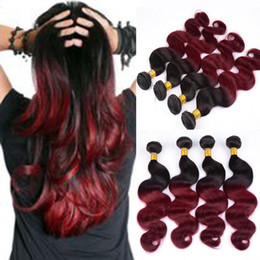 virgin remy brazilian human hair extensions Canada - Grade 7A 1B Burgundy Brazilian Body Wave Virgin Hair Two Tone Ombre Unprocessed Remy Human Hair Weaving Double Weft Bundles Hair Extension