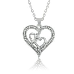 Mom Jewelry Necklace Canada - Mother's Day Gifts Mom Three Heart Necklace Crystal DIY Jewelry Pendant Necklaces Rhodium Plated Link Chain 30pcs lot