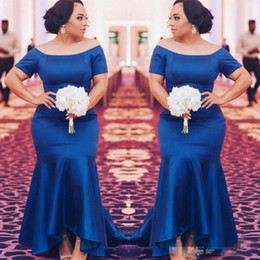 $enCountryForm.capitalKeyWord NZ - Royal Blue Satin Bridesmaid Dresses Short Sleeves Mermaid Maid Of Honor Gowns High Low Wedding Guest Gown Plus Size Bridesmaids Dress