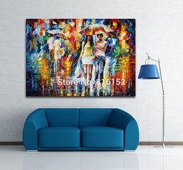 Oil Night Canada - Palette Knife Oil Painting Walking in The Rain Bright Street Night View Picture Canvas Prints Mural Art for Home Living Wall Decor