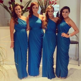 Barato Longos Vestidos De Dama De Honra Quentes-2015 Hot One Shoulder Long Elegant Blue Chiffon Ruffle Bridesmaid Vestidos Custom Made Cheap Under 100 Maid Of Honor Wholesale Frete grátis