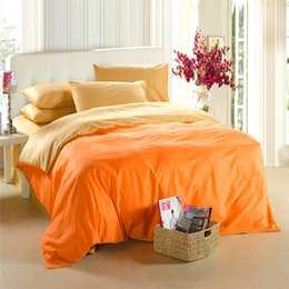 King Size Bedding Sets Orange Canada - Yellow orange bedding set King size queen quilt doona duvet cover double bed sheets linen bedsheet bedspreads solid 100% cotton bedlinen