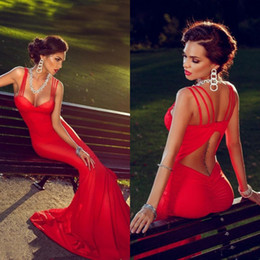 Spaghetti Strap Fitted Prom Dresses NZ - Sexy Hot Open Back Prom Dresses Fitted Mermaid Sweetheart Neckline Spaghetti Straps Backless Long Formal Evening Pageant Gowns Cheap 2016