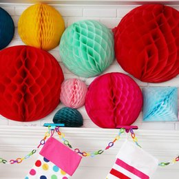 BaBy Blue wedding cakes online shopping - Multi quot quot quot Honeycomb Ball Garland DIY Birthday Wedding Party Decorations Baby Shower Paper Pom Poms Floral Wedding Decor DIY Garland