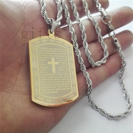 Dog Plates Canada - 35g High quality stainless steel gold-plated cross dog tag Military card engraved scriptures Very heavy 51*31*3.5mm DHL ship free