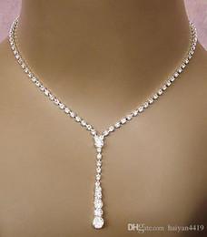 plateó los sistemas de joyería collar de diamantes Pendientes de boda barato Bling joyería nupcial conjunto de plata para la novia de dama de accesorios de las mujeres en venta