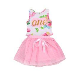 Großhandel Mikrdo Prinzessin Neugeborenes Baby Mädchen Kleid Baby Ärmellos Kleinkind Blume Strampler + Tutu Kleid Rock 2 STÜCKE Kleidung Outfits