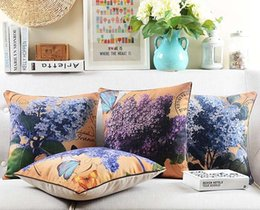 $enCountryForm.capitalKeyWord Canada - American Rustic Vintage Plant Floral Flower Lilac Butterfly Cushions Pillows Covers Decorative Sofa Cushion Cover Linen Cotton Pillow Case