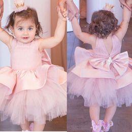 Discount peplum flower kids - Cute Pink Short Flowers Girls Dresses For Weddings Jewel Peplum Bow Beads Kids Birthday Party Dress Tulle And Satin Girl