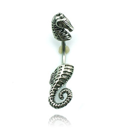 $enCountryForm.capitalKeyWord Canada - Body Jewelry Fashion Belly Button Rings 316L Stainless Steel Barbell Retro Black Sea Horse Navel Piercing Jewelry