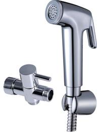 "China Bathroom Toilet ABS Handheld Bidet Sprayer Spray Head Brass 7 8"" t-adapter Wall Bracket Stainless Steel 1.5M Hose Chrome Shattaf Shower Set suppliers"