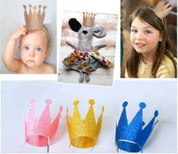 $enCountryForm.capitalKeyWord NZ - Kids Party Birthday Hat Festive Crown Headgear Birthday Party Decor Festive Supplies Accessorie plastic Flash powder Prince and princess who