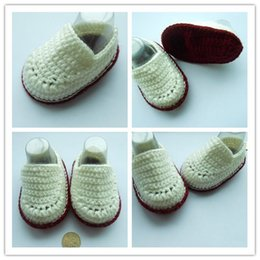 Wholesale Cotton Baby Booties Canada - 2015 Fashion Boy Crochet baby ballet shoes white boy handmade infant booties toddler shoes 0-12M cotton