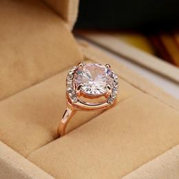 Alloy Ring Zircon Canada - High Quality Zircon Ring 18K Rose Gold Plated Rhinestone Engagement Rings Mix Size Gemstone Jewelry rystal Wedding Ring Charm Jewelry ZR115